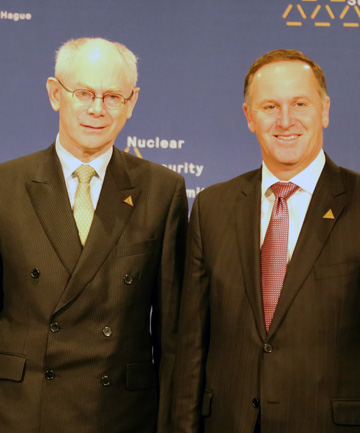 European Council president Herman Van Rompuy and NZ Prime Minister John Key