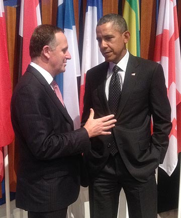 TRADE UPDATE: John Key snatched a five-minute debrief with Obama on progress towards the Trans-Pacific Partnership trade deal.