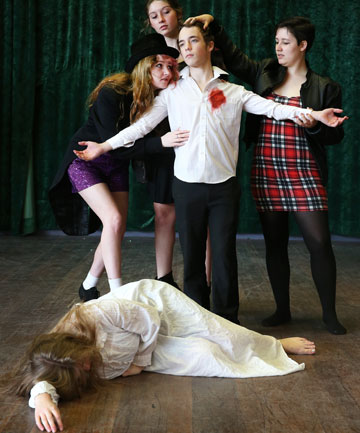SHAKE IT UP: Verdon College actors Shanay Fannin 17, lying on floor, and, from left, Kami Corbin, 17, Meg Kelly, 16, Shaun Swain, 17, and Kathleen Adams, 16, rehearse ahead of the Sheilah Winn Shakespeare Festival Southland contest tonight.