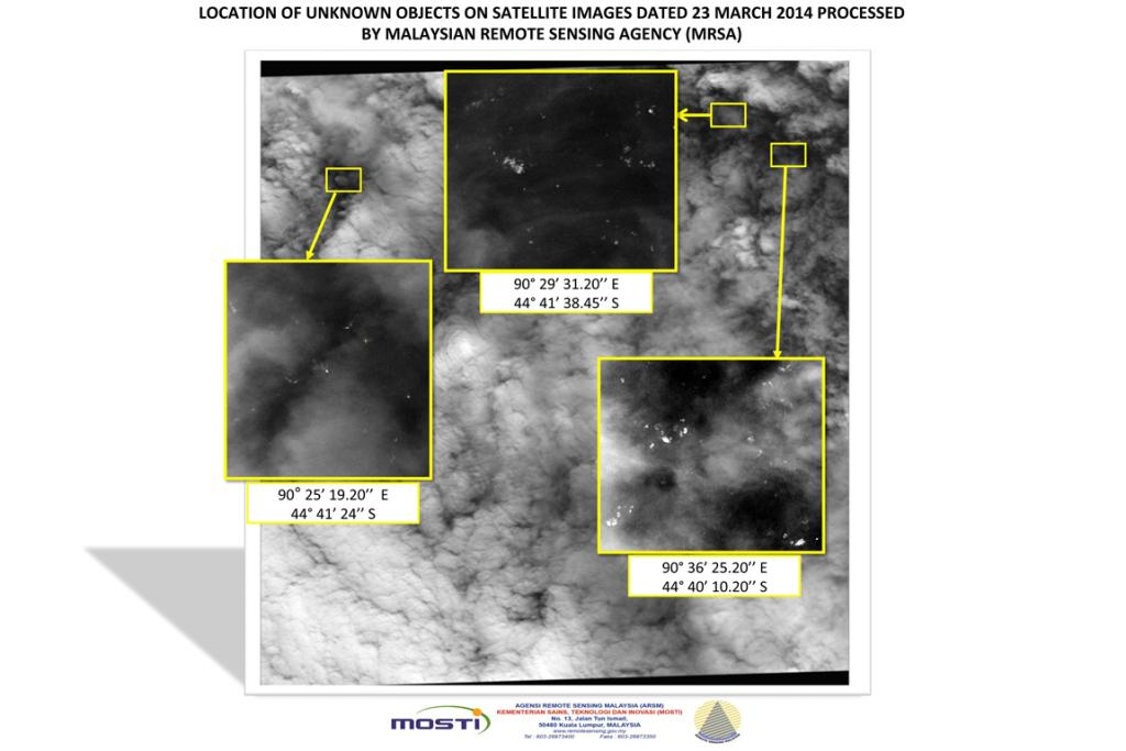 A satellite photo, showing the locations and co-ordinates of unknown objects reported by the Malaysian Remote Sensing Agency (MRSA) in the Indian Ocean. The images were taken on March 23 and released on March 26.