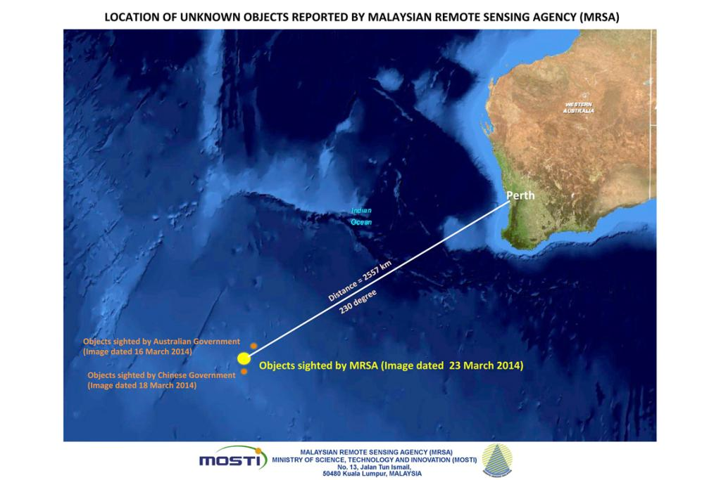 A satellite photo, showing the location of unknown objects reported by the Malaysian Remote Sensing Agency (MRSA) in the Indian Ocean. The images were taken on March 23 and released on March 26.
