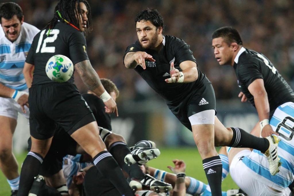 Piri Weepu in action during the 2011 Rugby World Cup quarter final between New Zealand and Argentina.