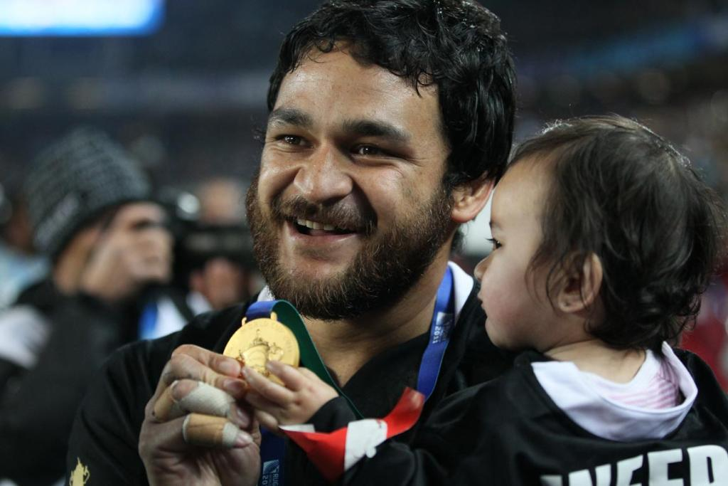 Piri Weepu celebrates after the All Blacks won the 2011 Rugby World Cup.