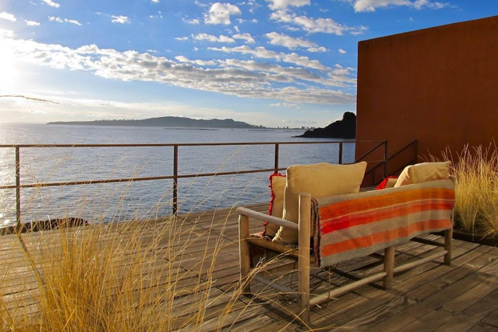 The outlook from Hotel Titilaka, a luxury boutique lodge on the shore of Peru's Lake Titicaca.