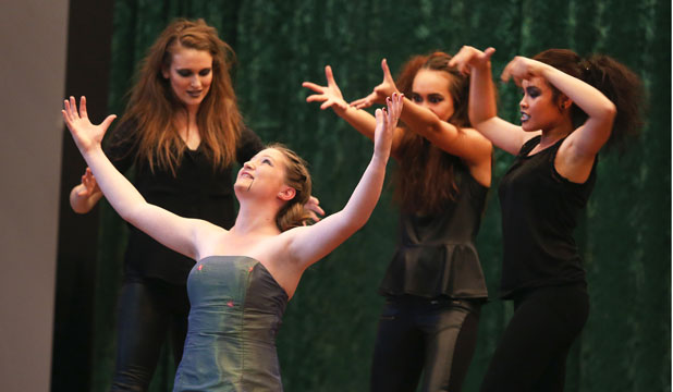 Central Southland College students, from left, Hayley Wilson, Breane Dowling, Kristy Schuster and EG Debuyan, shake of any nerves and perform scenes from Macbeth as part of the Southland heat of the Sheilah Winn Shakespeare Festival.