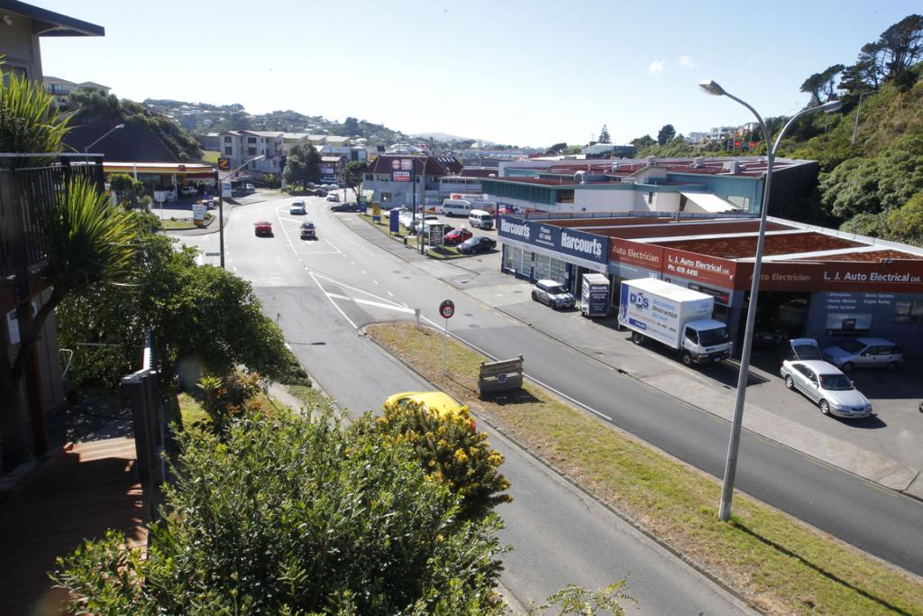 Now: Johnsonville Rd, 2014. There's a petrol station, plenty of industry and a bigger shopping centre . . . and lots of trees and bushes.