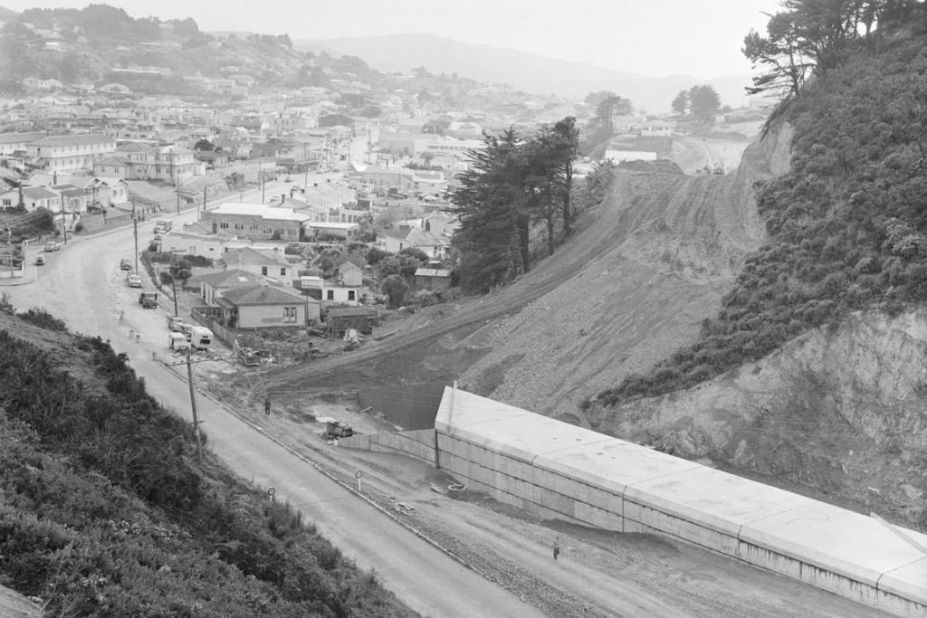 Then: Johnsonville Rd, 1959, during the construction of the Johnsonville bypass. Fraser Ave is on the left and the Johnsonville township is in the centre, heading north.