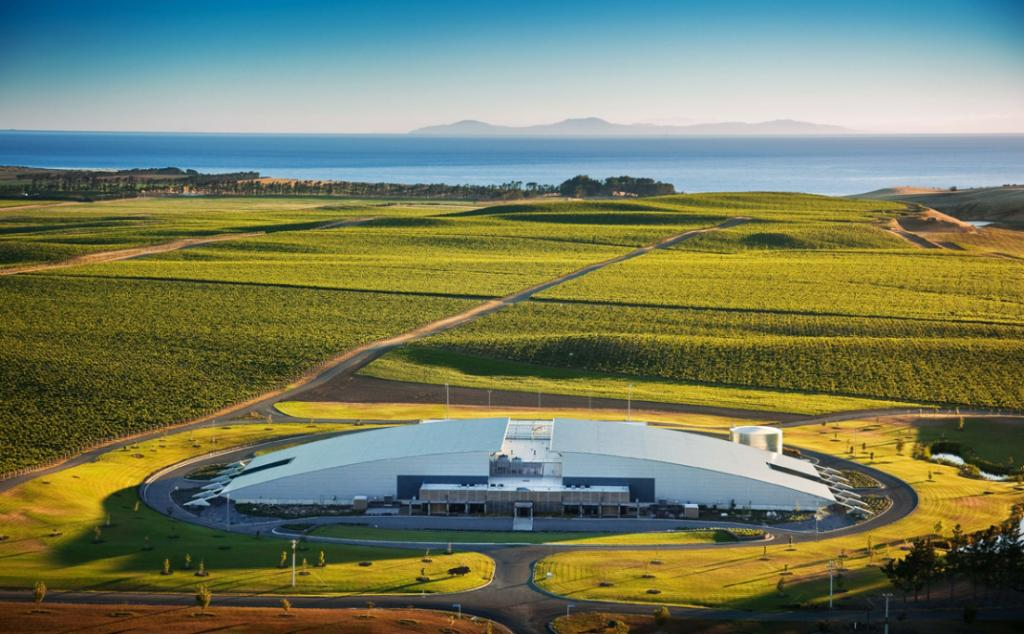 Aerial view of Yealands Estate Winery, Seddon