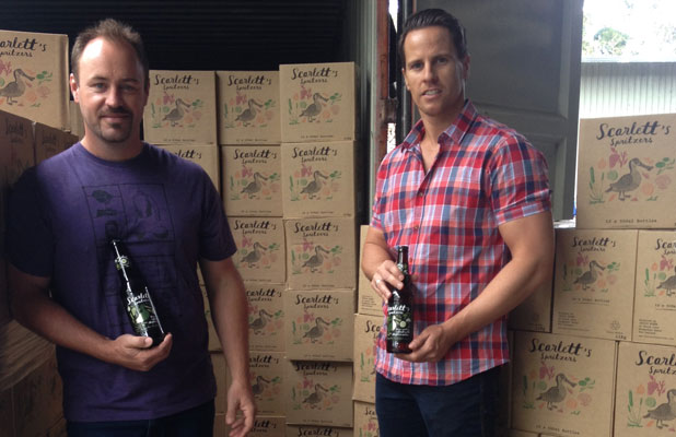 EXPORT MARKET: Invivo Wines directors Rob Cameron and Tim Lightbourne with their new Scarlett's Spritzers drink destined for export markets.
