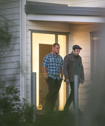 PROBE: Craig Johnson, left,  speaks to reporter Blair Ensor at his home in Whangaparaoa, north of Auckland.