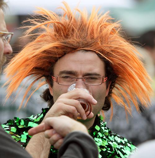 Kenneth Churcher having a mad hair day at the Great Kiwi Beer Festival in North Hagley Park in Christchurch.