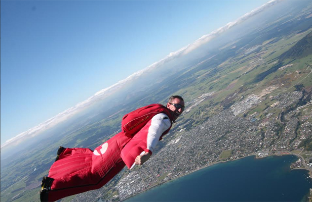 FLYING DOCTOR: Dr Glenn Singleman during a wingsuit dive.
