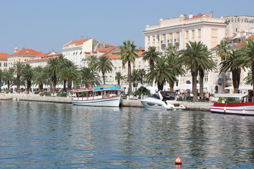 Split's Riva is a palm-fringe stretch of cafes and restaurants just outside the palace.