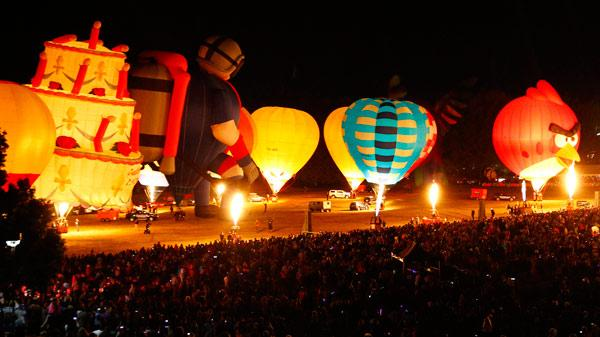 SHOWTIME: The assembled, inflated and illuminated balloons made for a grand sight.