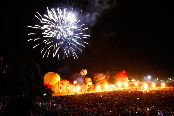 DAY FOUR: The balloon army appear to be skittled by an overhead explosion – but in reality they were being quickly deflated while the fireworks display drew everyone's attention to the heavens.