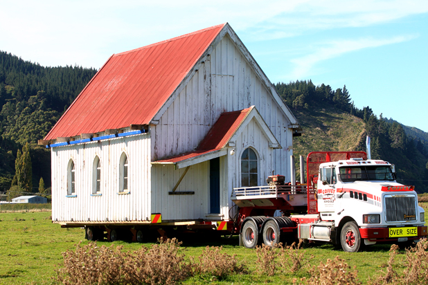 The original Tua Marina Methodist Church is loaded and ready for the journey to Brayshaw Park in Blenheim tomorrow morning