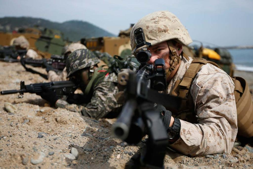 US and South Korean marines participate in a US-South Korea joint landing operation drill in Pohang March 31.