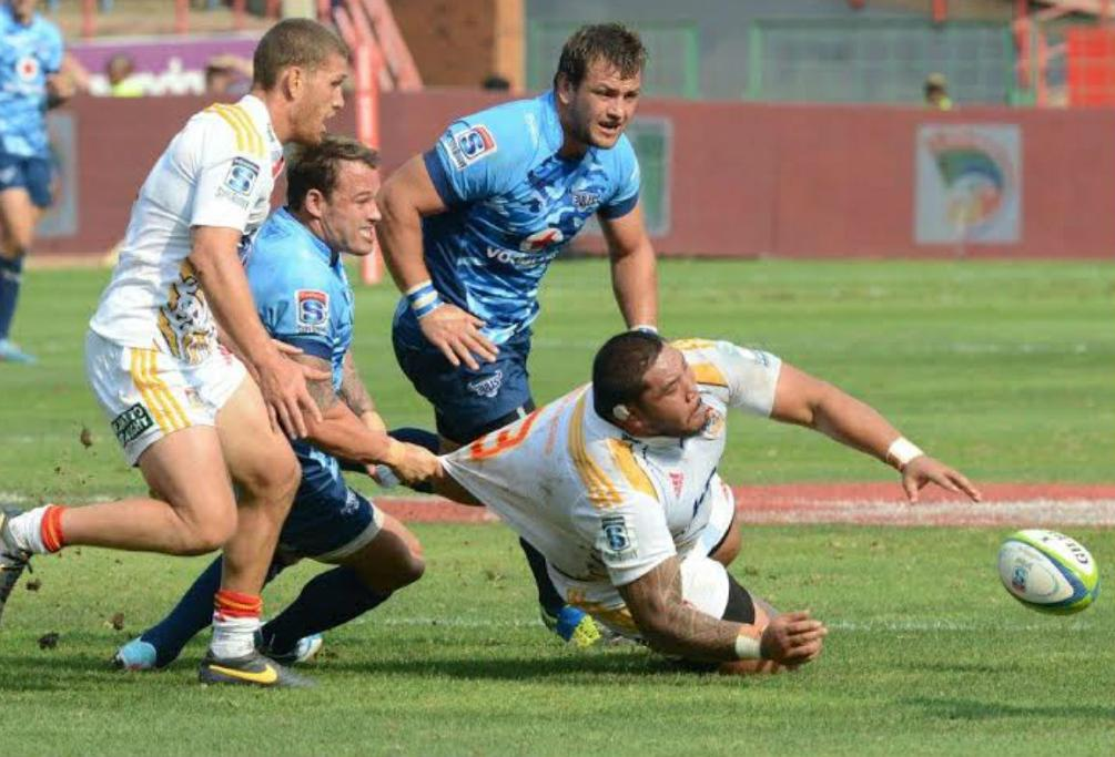 Prop Ben Tameifuna of the Chiefs tries in vain to keep the ball under control against the Bulls in Pretoria.