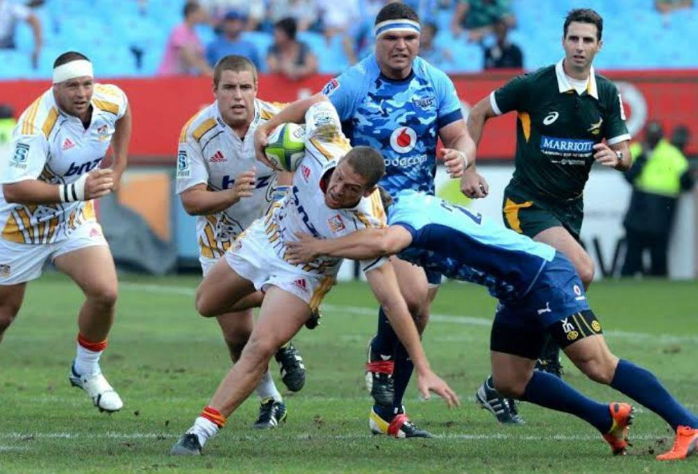 Chiefs halfback Tawera Kerr-Barlow tries to make a break against the Bulls in South Africa.