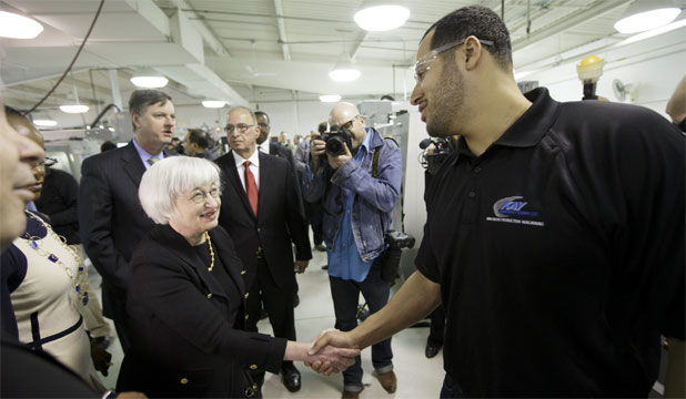 GETTING THE MESSAGE: Janet Yellen with Masson Covington, a student at Chicago's Daley College.