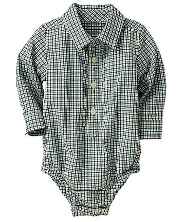 SHIRTED UP: The Gap green checked bodysuit designed to look like a shirt.