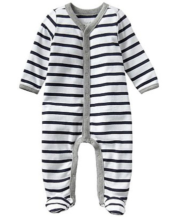 NAUTICAL NUMBER: Kate invested in two of these Gap navy and white striped babygrows.