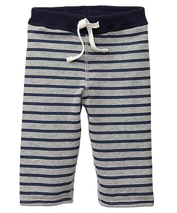 STRIPEY LEGS: She also picked up a pair of these Gap navy and grey trousers.