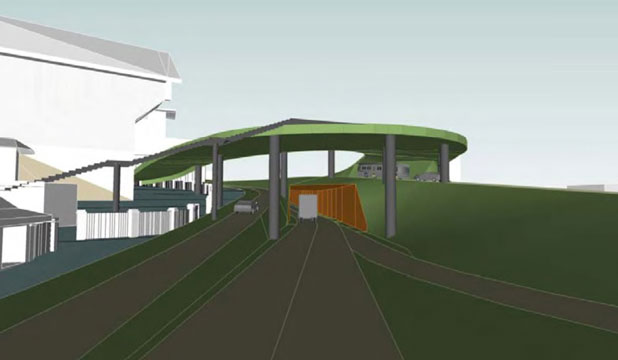 "'INFERIOR' OPTION: A computer model of what the Architecture Centre's Option X would look like from the Basin Reserve's northern gate, looking towards Buckle St. It shows the tunnel entrance and ""green"" pedestrian and cycle bridge overhead that would link the cricket ground to the National War Memorial Park."