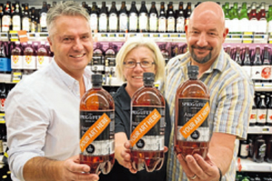 CHOICE ART: The Arts Expo team in Fresh Choice. Arts Expo Nelson project manager Nic Foster, left, Sprig and Fern master brewer Tracy Banner and Fresh Choice Nelson owner Mark A'Court.