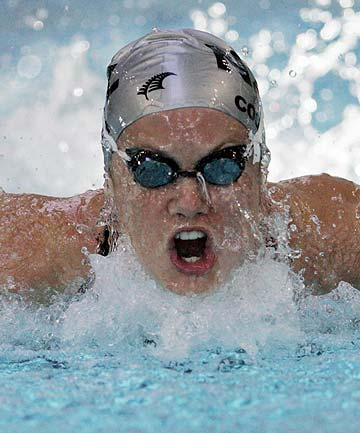 STRONG STROKES: Olympic swimmer Liz Coster in action.