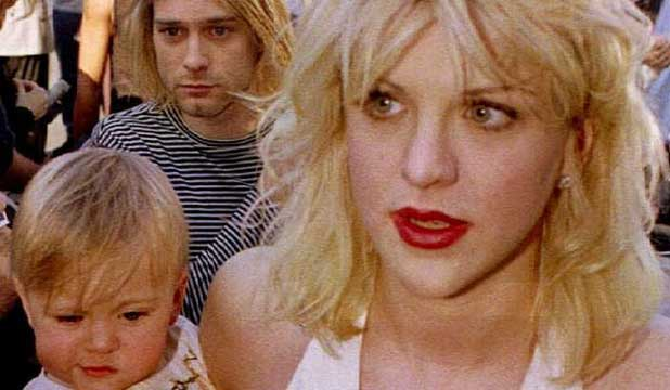 MUSICAL OF HER LIFE: Courtney Love with Kurt Cobain, holding their daughter Frances Bean Cobain, in 1992