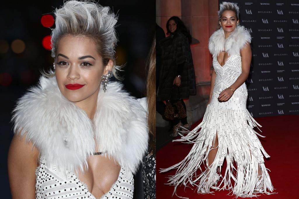 THE BAD: Holy mother of Cruella De Vil Roberto Cavalli's done a terrible disservice to Rita Ora (and her, erm ladies). Actually, I take that back, if this is a Disney villain it's Ursula the Sea Witch (except Ursula's recently developed a strong concern for the environment after one of her sidekick eels tragically passed away and so now only wears couture from recycled material - this one is upcycled, half-shredded paper).
