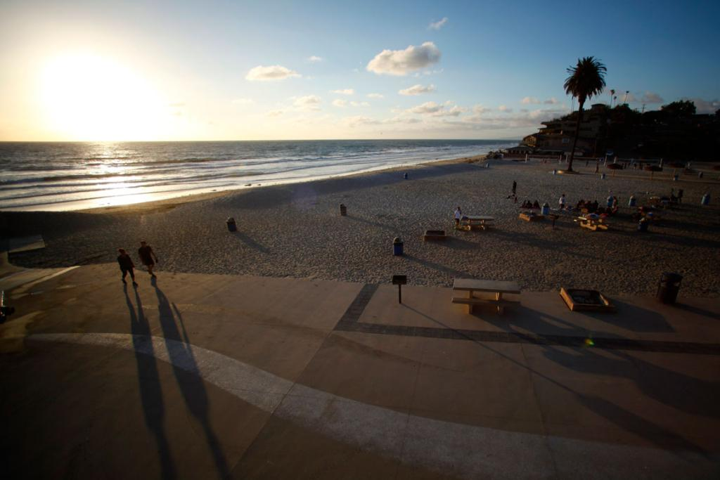 The sun sets in the San Diego North County town of Encinitas, California.