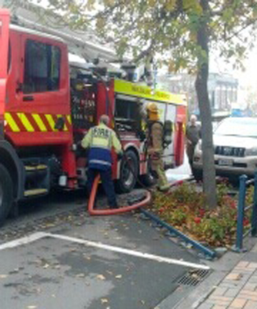 SMALL BLAZE: Firefighters at work at Ballantynes on Stafford St.