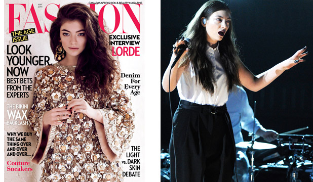 GLAM & EDGE: Lorde can own a shiny gold dress on the cover of a glossy as much as she can Patti-Smith-chic at The Grammys