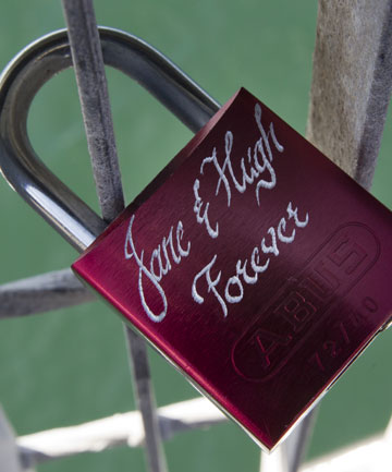 """Love locks"" on Wellington footbridge"