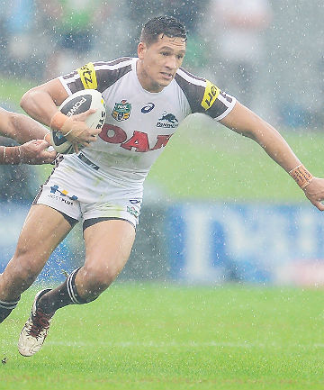 FINE DEBUT: Dallin Watene-Zelezniak in action for the Penrith Panthers last night.