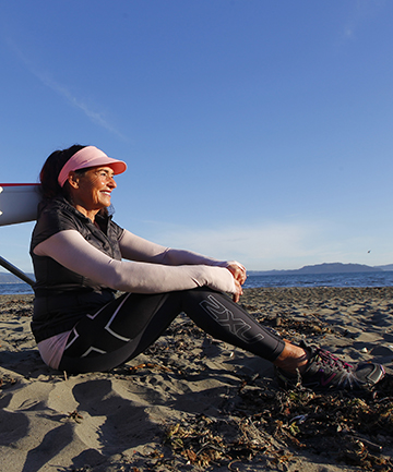 TOUGH WOMAN: Pam Dickson, 60, after her Cook Strait adventure in a rowing skiff.