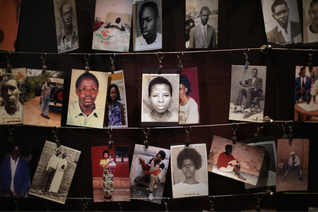 Family photos of victims of the 1994 Rwanda genocide hang inside the Kigali Genocide Memorial Centre on Saturday.