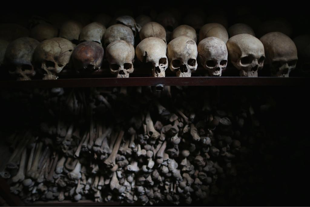 The Nyamata Catholic Church memorial's crypts contain the remains of over 45,000 genocide victims, the majority of them Tutsi, including those who were massacred inside the church itself.