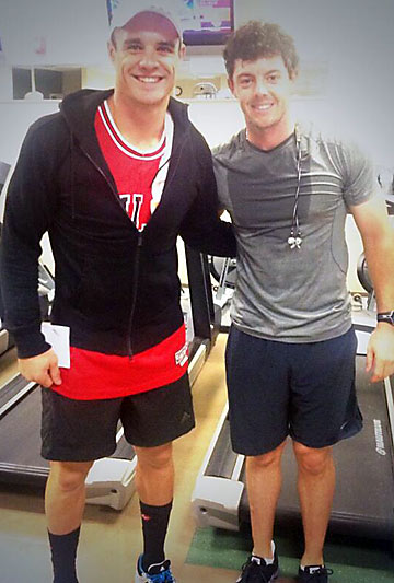 GYM BUDDIES: Dan Carter and  Rory McIlroy