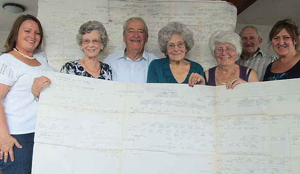 FAMILY TIES: From left: Angela Dalton, Dot Ensom, Bert Knight, Kath Morrin, Gloria Mumby, Graham Whitburn and Sheryl Robinson all got together for the first time last week.
