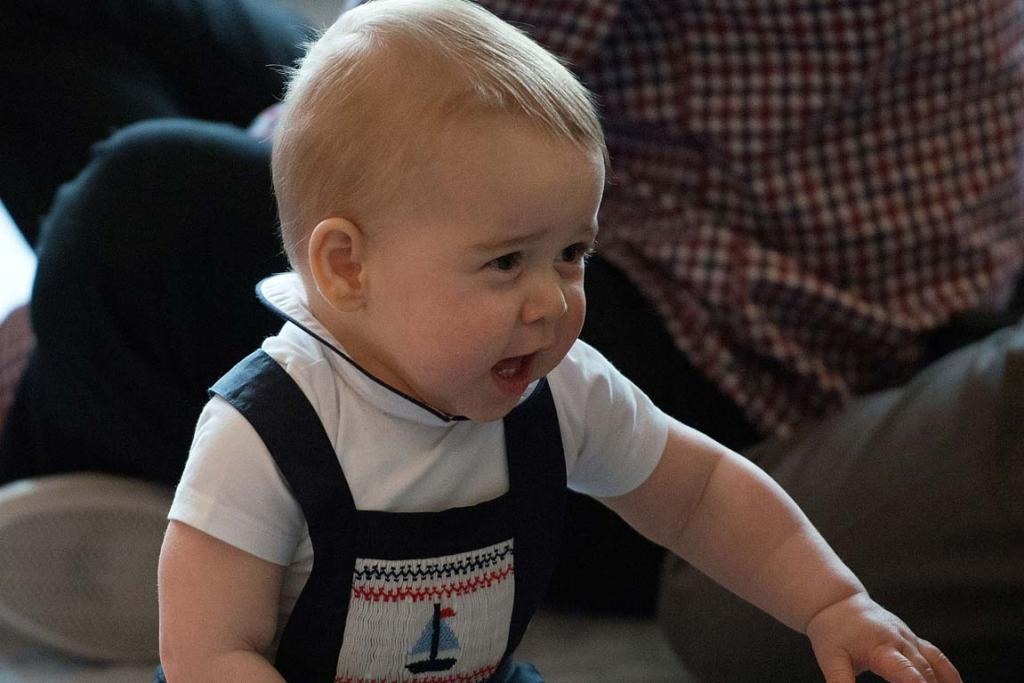 Prince George looks like he wants mummy.