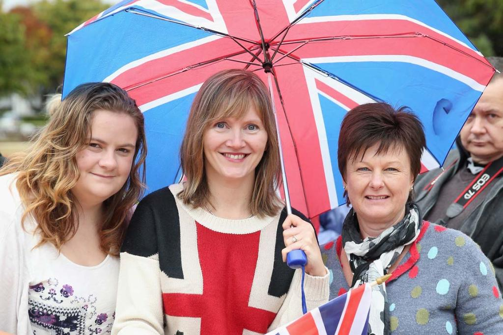 Stephanie Stratton, Gina Burney and Jeanette Abelen wait for the royals in Blenheim.