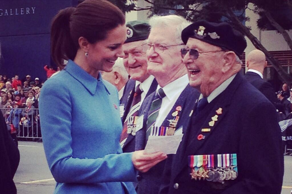 The Duchess of Cambridge meets war veterans in Blenheim.
