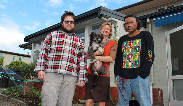 WORKING TOGETHER: Grey Lynn's Crossroads Clubhouse member Reed, facilitator Emma Nelson and member Pesa with Molly the dog.