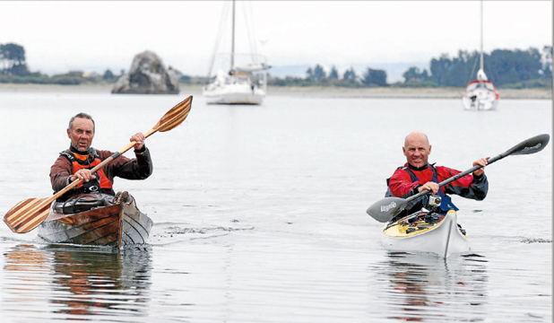 LAST LEG: Paddlers Steve Moffatt, left, and Steve Gurney, finish their paddle from Picton to Nelson. The pair have also crossed Cook Strait.