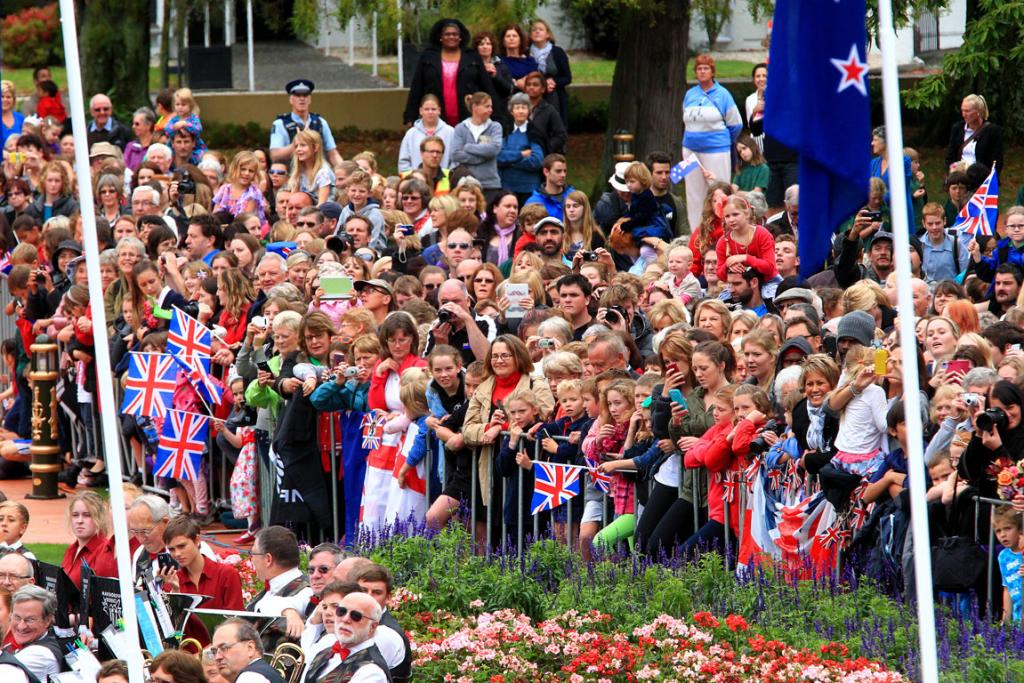 The crowds wait to see the royals.