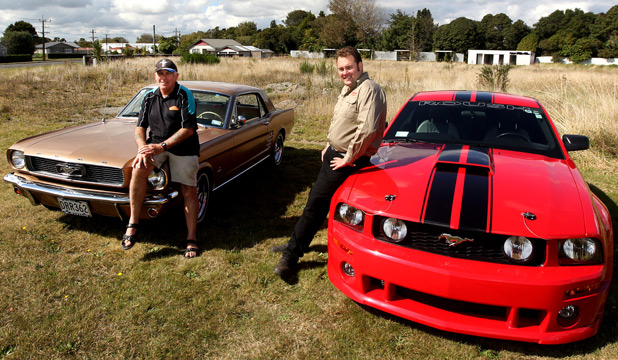 Mustang enthusiasts Gary Fraser with his 1966 Notchback original and Carl Hinton with his 2006 Roush Stage 3.
