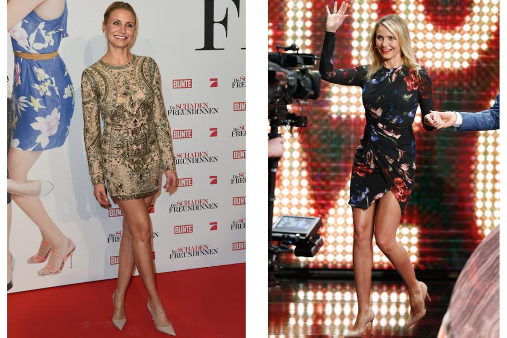 THE GOOD: A lot of blogs etc were saying 'can Cam just STOP with the mini dresses already?!' but I'm all, 'hell no! anyone with legs like that - let alone at 41 - should be legally required to wear a disproportionate amount of minis'. PS: To the left we have embellished Emilio Pucci and to the right we've got beautifully-draped Elie Saab. There have also been complaints about her love for nude shoes - but c'mon folks, they only serve to make her legs look longer, Cam-Cam knows the tricks and good on her for it!